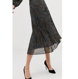 NWT ASOS | Metallic Pleated Skirt